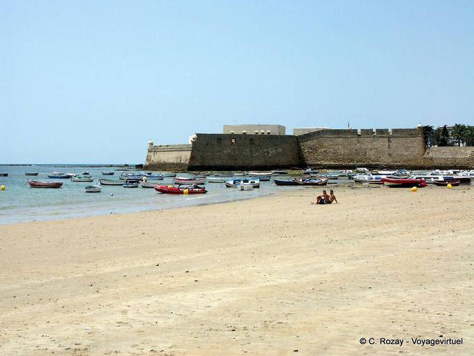 Ramparts from the playa Caleta, Cadiz - Spain, Andalusia