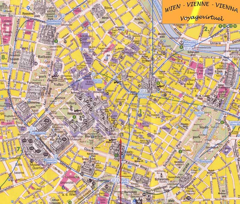Map plan Vienna historic center Austria