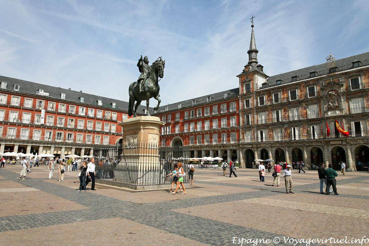 Madrid, Plaza Mayor, Statue of King Philip III - Spain