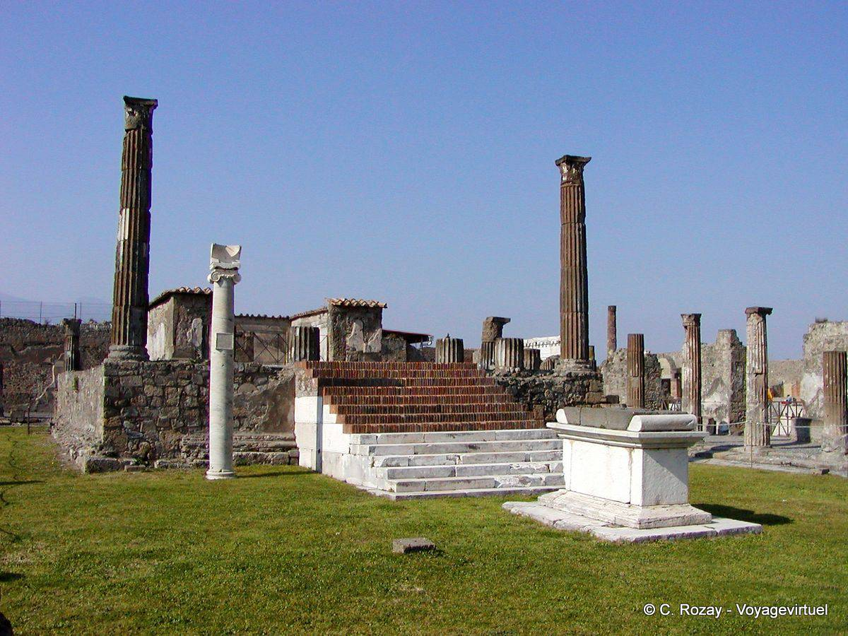 Temple of Apollo, the podium, Pompeii - Italy
