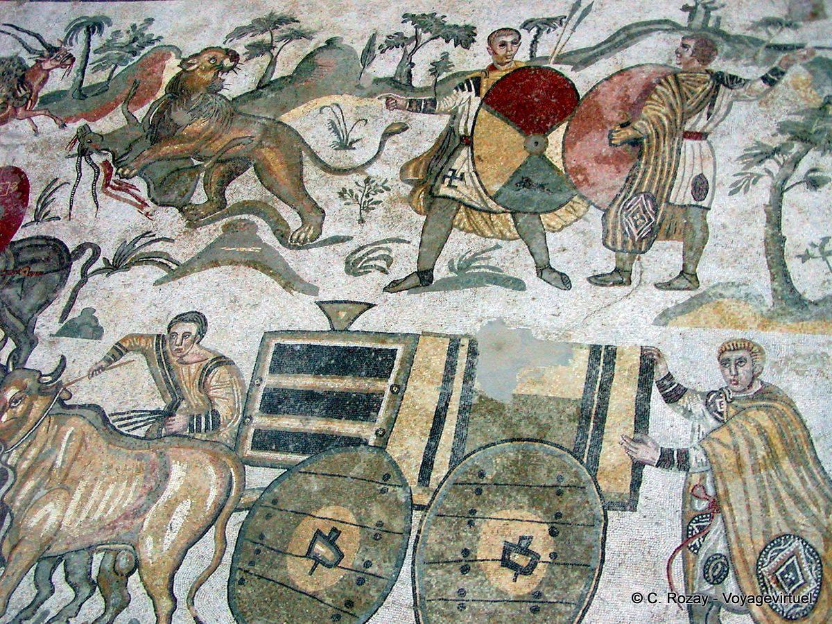 Scene of the great hunt mosaic of villa romana del casale italy - La villa romaine antique ...