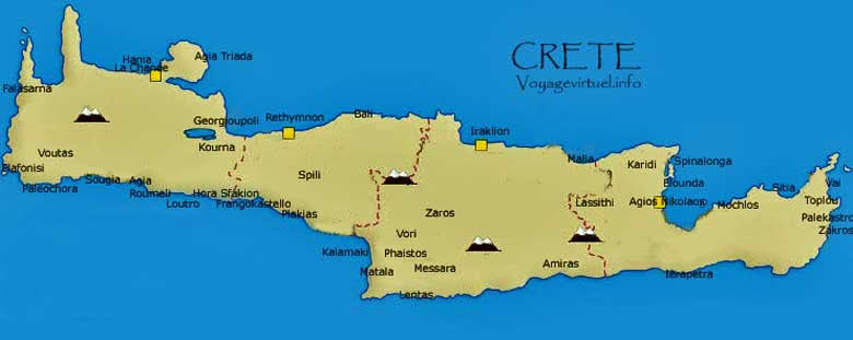Map of Crete, Greece