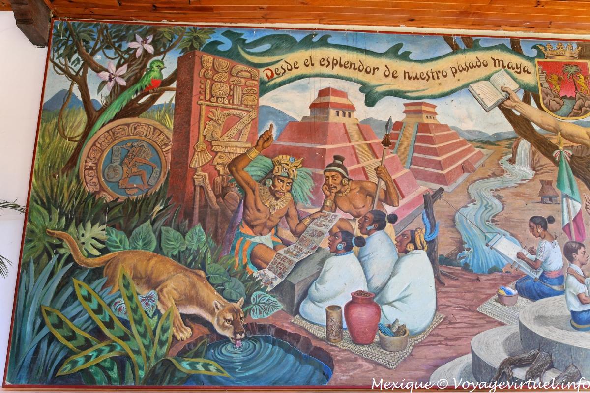 Mural In Honor Of The Mayan People Casa De La Cultura Comitan Mexico