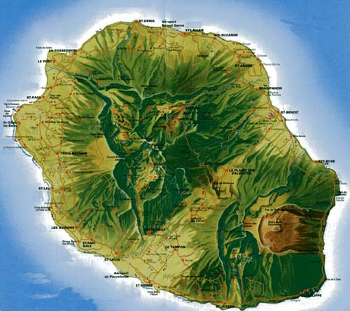 Reunion island map, click to travel