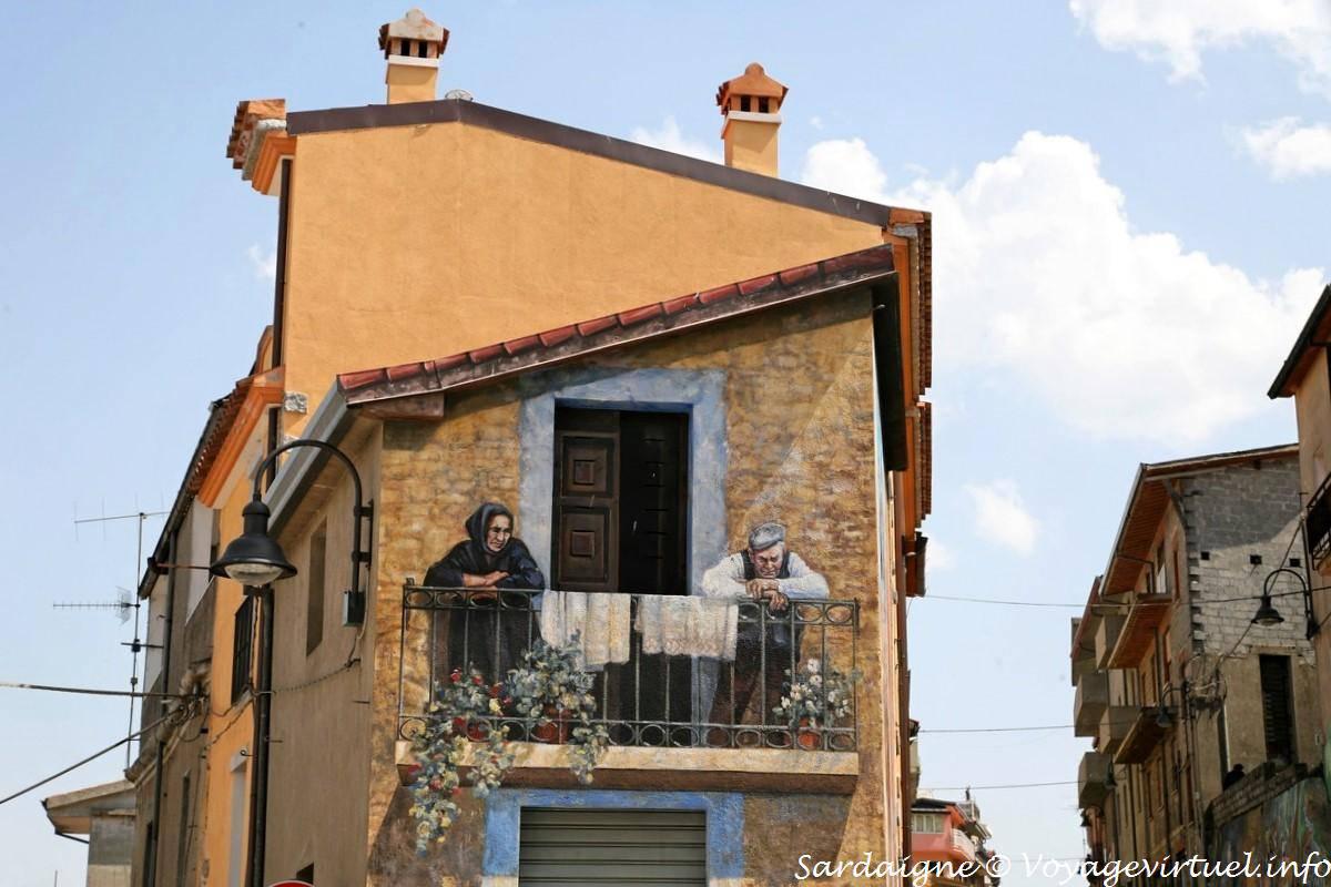 street corner balcony trompe l 39 oeil mural fonni sardinia. Black Bedroom Furniture Sets. Home Design Ideas